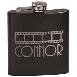 Movie Theater Black Flask Set (Personalized)