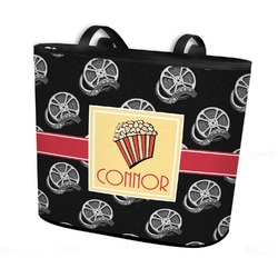 Movie Theater Bucket Tote w/ Genuine Leather Trim (Personalized)
