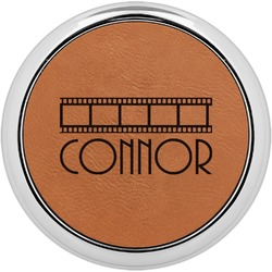 Movie Theater Leatherette Round Coaster w/ Silver Edge - Single or Set (Personalized)