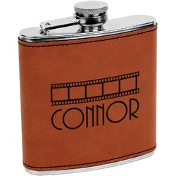 Movie Theater Leatherette Wrapped Stainless Steel Flask (Personalized)