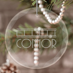 Movie Theater Engraved Glass Ornament (Personalized)