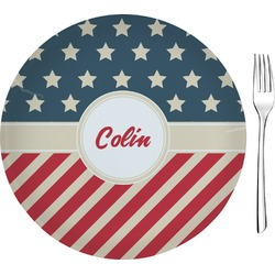 """Stars and Stripes 8"""" Glass Appetizer / Dessert Plates - Single or Set (Personalized)"""