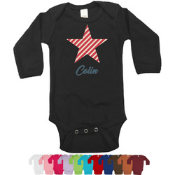 Stars and Stripes Bodysuit - Long Sleeves - 0-3 months (Personalized)