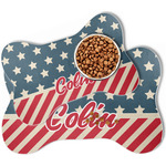Stars and Stripes Bone Shaped Dog Food Mat (Personalized)