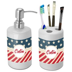 Stars and Stripes Bathroom Accessories Set (Ceramic) (Personalized)