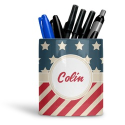 Stars and Stripes Ceramic Pen Holder