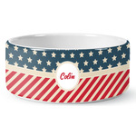 Stars and Stripes Ceramic Dog Bowl (Personalized)