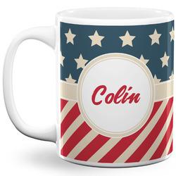 Stars and Stripes 11 Oz Coffee Mug - White (Personalized)