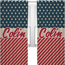 Stars and Stripes Curtains (2 Panels Per Set) (Personalized)