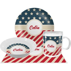 Stars and Stripes Dinner Set - 4 Pc (Personalized)