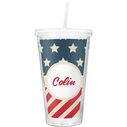 Stars and Stripes Double Wall Tumbler with Straw (Personalized)