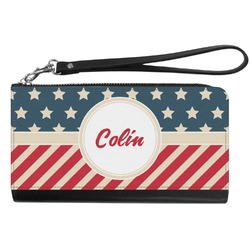 Stars and Stripes Genuine Leather Smartphone Wrist Wallet (Personalized)