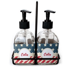 Stars and Stripes Soap & Lotion Dispenser Set (Glass) (Personalized)
