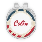 Stars and Stripes Golf Ball Marker - Hat Clip - Silver