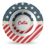 Stars and Stripes Plastic Bowl - Microwave Safe - Composite Polymer (Personalized)