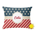 Stars and Stripes Outdoor Throw Pillow (Rectangular) (Personalized)