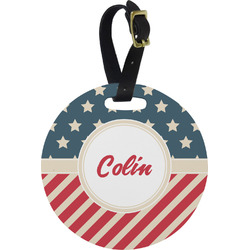 Stars and Stripes Round Luggage Tag (Personalized)