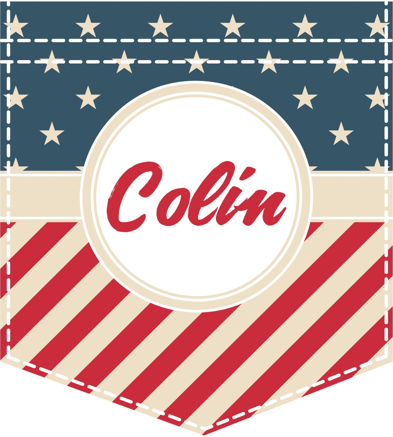Stars And Stripes Iron On Faux Pocket Personalized