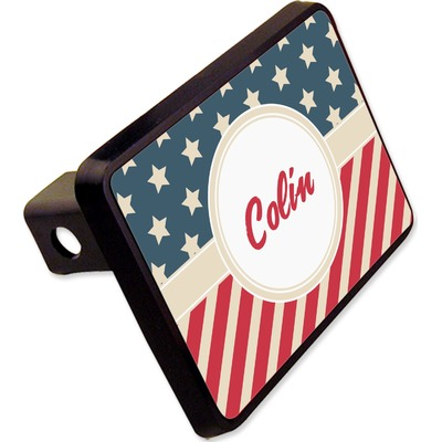 """Stars and Stripes Rectangular Trailer Hitch Cover - 2"""" (Personalized)"""