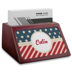 Stars and Stripes Red Mahogany Business Card Holder (Personalized)