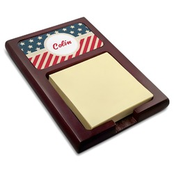 Stars and Stripes Red Mahogany Sticky Note Holder (Personalized)