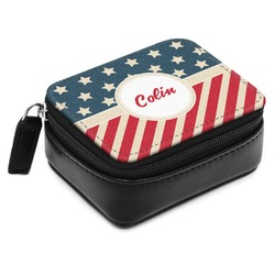 Stars and Stripes Small Leatherette Travel Pill Case (Personalized)