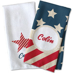 Stars and Stripes Waffle Weave Kitchen Towel (Personalized)