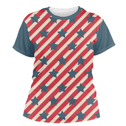 Stars and Stripes Women's Crew T-Shirt (Personalized)