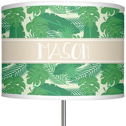 """Tropical Leaves 2 13"""" Drum Lamp Shade (Personalized)"""
