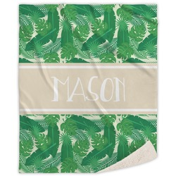 Tropical Leaves 2 Sherpa Throw Blanket (Personalized)