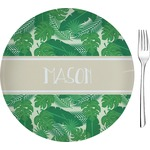 "Tropical Leaves 2 Glass Appetizer / Dessert Plates 8"" - Single or Set (Personalized)"