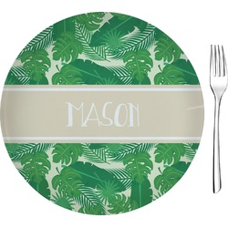 """Tropical Leaves 2 8"""" Glass Appetizer / Dessert Plates - Single or Set (Personalized)"""