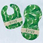 Tropical Leaves #2 Baby Bib & Burp Set w/ Name or Text