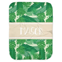 Tropical Leaves #2 Baby Swaddling Blanket w/ Name or Text
