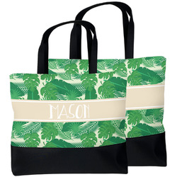 Tropical Leaves #2 Beach Tote Bag (Personalized)