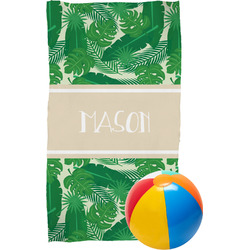 Tropical Leaves 2 Beach Towel (Personalized)