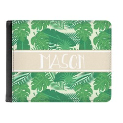 Tropical Leaves #2 Genuine Leather Men's Bi-fold Wallet w/ Name or Text