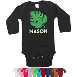 Tropical Leaves 2 Bodysuit - Black (Personalized)