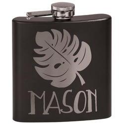 Tropical Leaves 2 Black Flask (Personalized)