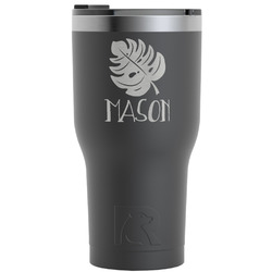 Tropical Leaves 2 RTIC Tumbler - Black (Personalized)