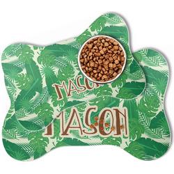 Tropical Leaves #2 Bone Shaped Dog Food Mat (Personalized)
