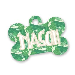 Tropical Leaves 2 Bone Shaped Dog Tag (Personalized)