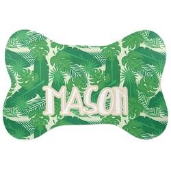 Tropical Leaves 2 Bone Shaped Dog Food Mat (Personalized)