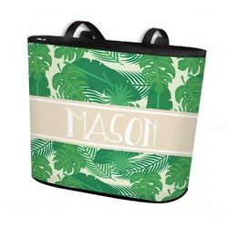 Tropical Leaves #2 Bucket Tote w/ Genuine Leather Trim (Personalized)