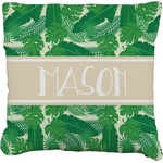 Tropical Leaves #2 Faux-Linen Throw Pillow (Personalized)