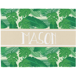 Tropical Leaves #2 Woven Fabric Placemat - Twill w/ Name or Text
