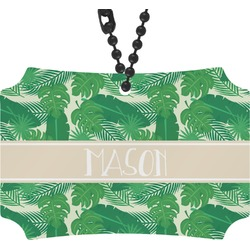 Tropical Leaves 2 Rear View Mirror Ornament (Personalized)