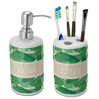 Tropical Leaves #2 Ceramic Bathroom Accessories Set (Personalized)