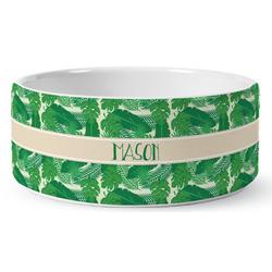 Tropical Leaves 2 Ceramic Pet Bowl (Personalized)