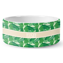 Tropical Leaves #2 Ceramic Dog Bowl (Personalized)
